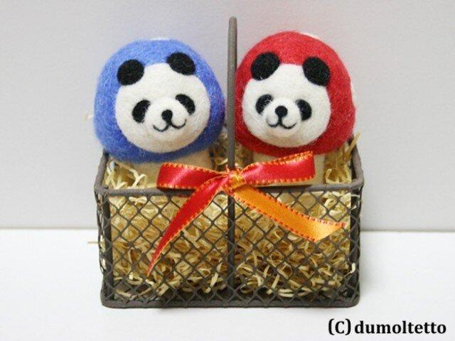 羊毛フェルトキノコパンダのマスコットセット(青&赤)の画像1枚目