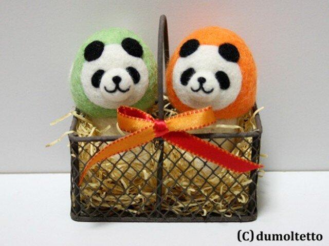 羊毛フェルトキノコパンダのマスコットセット(黄緑&オレンジ)の画像1枚目