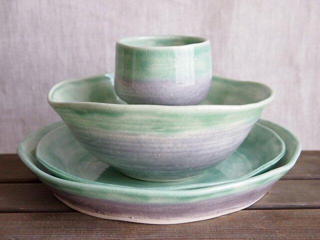 ディナーセット5(緑と紫)の画像1枚目