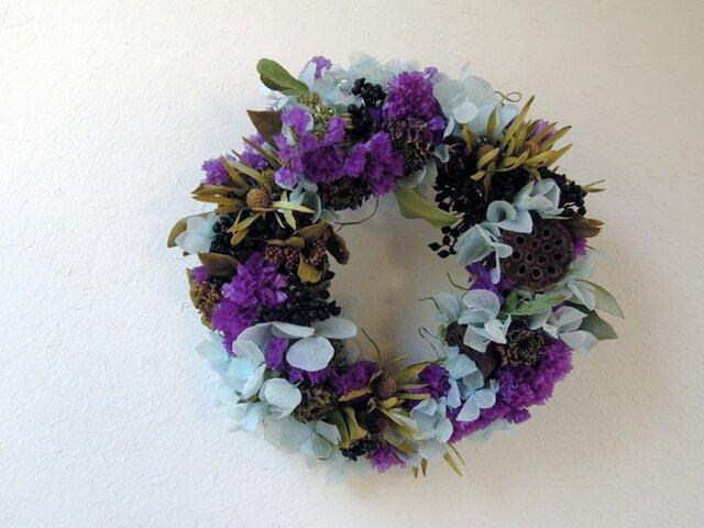 百日草の紫×アジサイの水色リースの画像1枚目