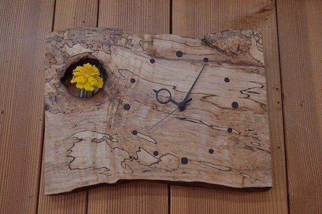 かけ時計(バーズアイメイプル)の画像1枚目