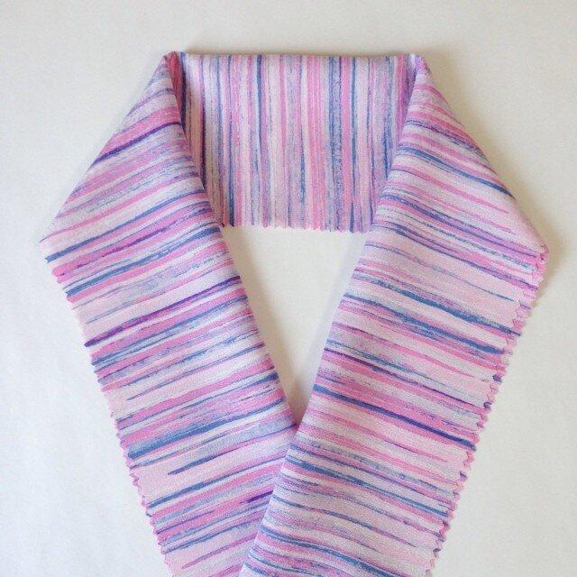 蝋しけ引き絹半衿(淡ピンク青)の画像1枚目