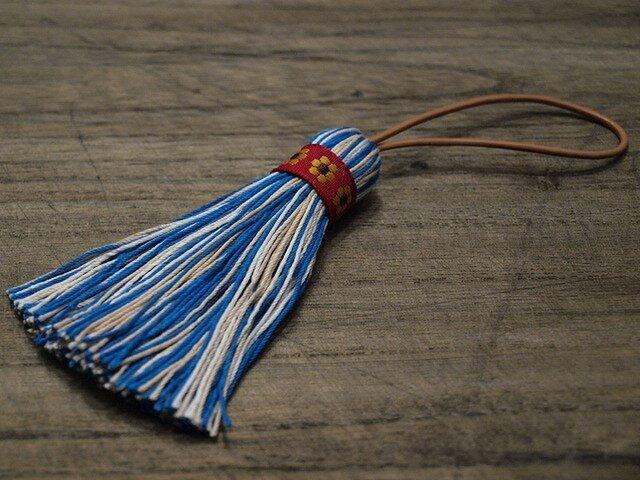 【再販】✤レトロマーガレットのタッセル✤ 【昭和レトロ・北欧・チロリアン】 キーホルダー・バッグチャーム 青の画像1枚目