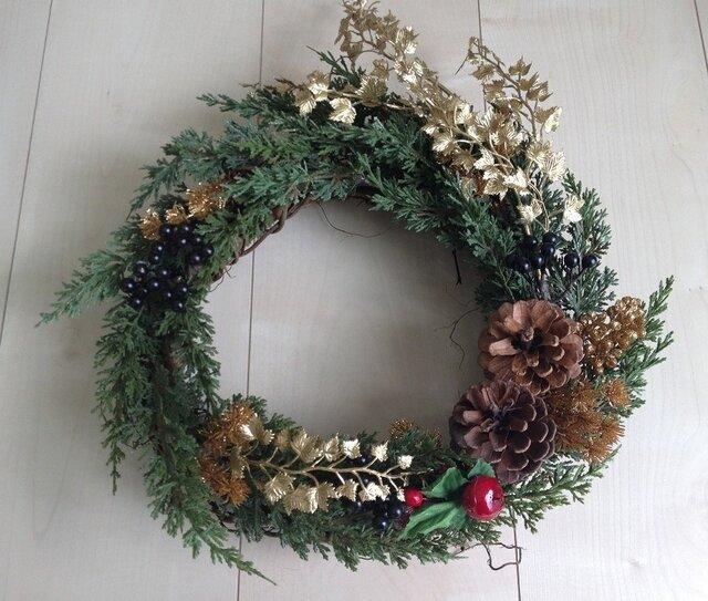 クリスマス向け★グリーンとゴールドのリースの画像1枚目