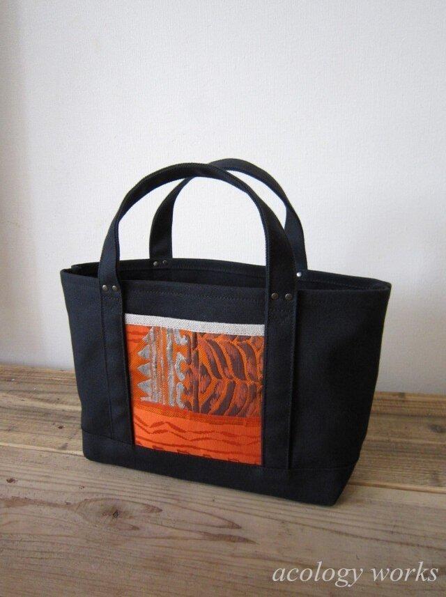 SALE 「obi-tote」 Sサイズ ブラック×オレンジの画像1枚目