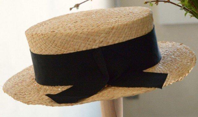 ラフィアのカンカン帽の画像1枚目