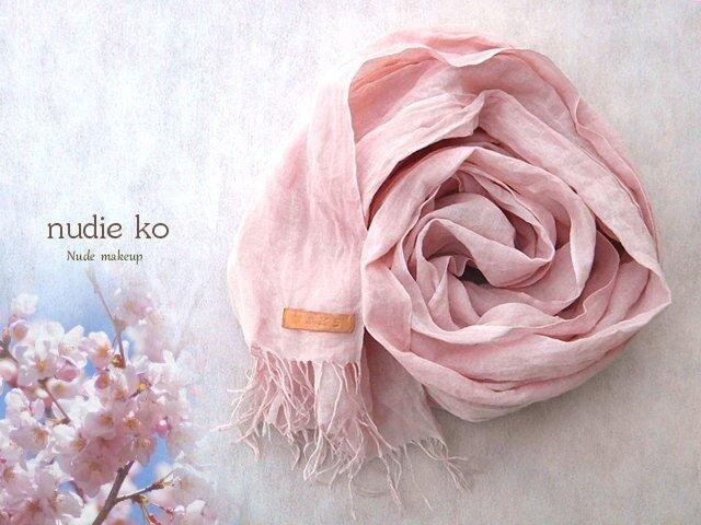草木染ストール 桜-sakura-  ミョウバン媒染の画像1枚目