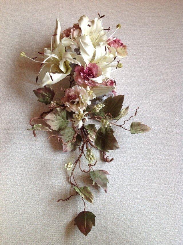ゆりとカーネーションと紫陽花の壁掛けの画像1枚目