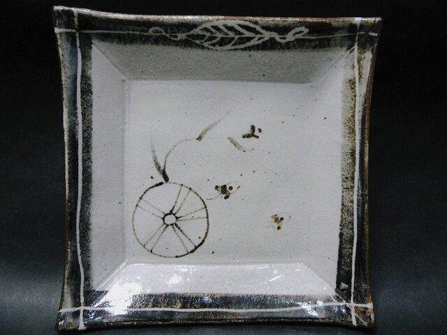 正方形陶板(水車とふくら雀)の画像1枚目
