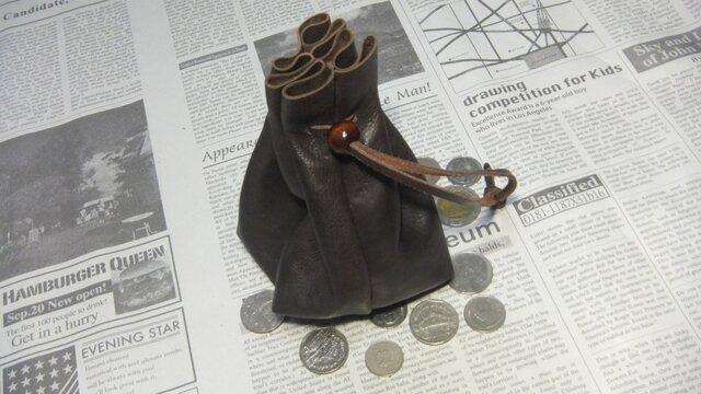 巾着袋 (ダークブラウン)の画像1枚目