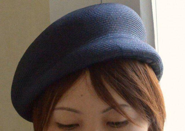夏素材のベレー帽(ネイビー)の画像1枚目