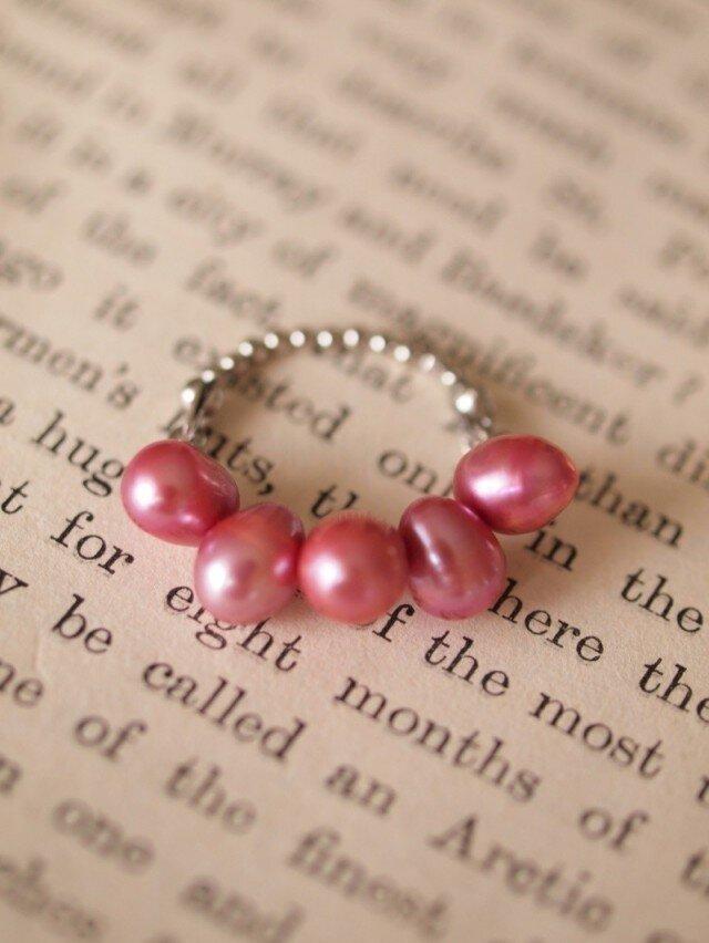 ピンク淡水パールのリングの画像1枚目