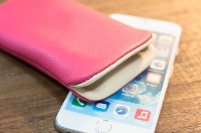 iPhone6レザーケース サクラピンクの画像1枚目