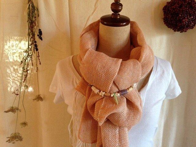 手織り リトアニアリネンとラミー オレンジの画像1枚目