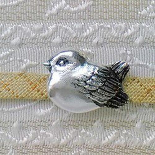 小雀の帯留 925銀 三分四分紐用の画像1枚目