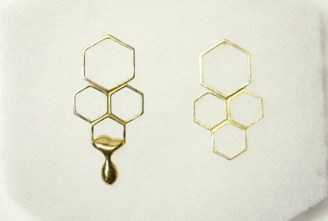蜂蜜とろり 蜂の巣ピアスの画像1枚目