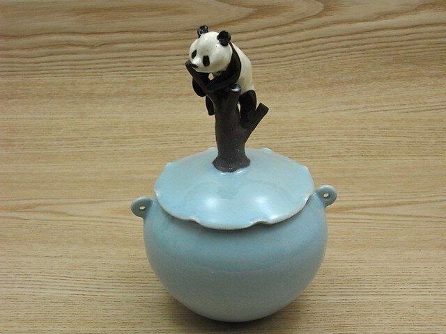水青樹登大熊猫耳付飴小壺ーBの画像1枚目