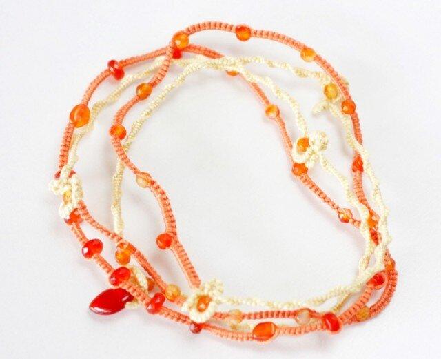 【金属フリー】オレンジ系天然石の、ながぁ~い首飾りの画像1枚目