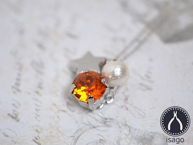 一粒スワロの流れ星ネックレス(シルバー/オレンジ)の画像1枚目