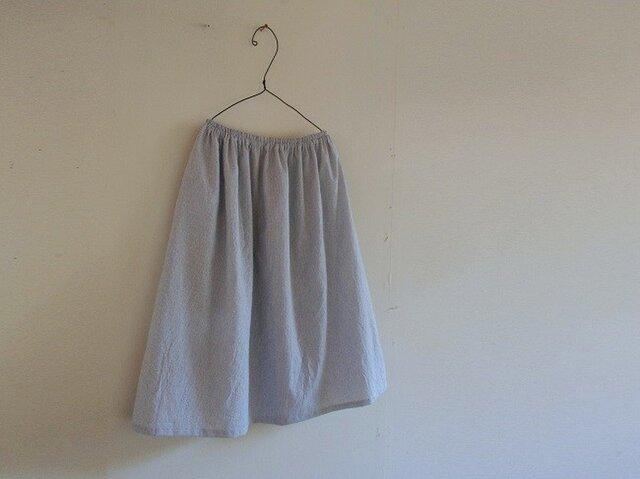 オーガニックコットン ストライプ ギャザースカートの画像1枚目