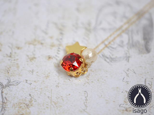 一粒スワロの流れ星ネックレス(ゴールド/ルビーレッド)の画像1枚目