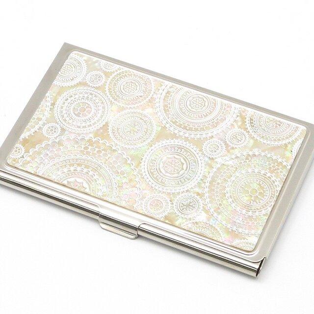名刺カードケース 天然貝仕様(ホワイトレース3D)<螺鈿アート>の画像1枚目
