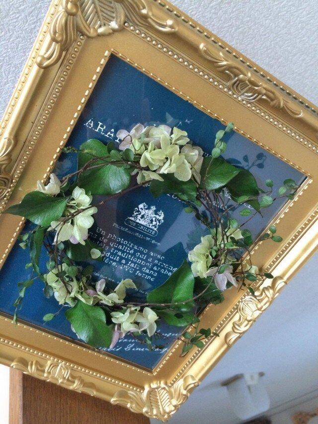 ワイヤープランツのフレームリース【プリザーブドフラワー】母の日!の画像1枚目