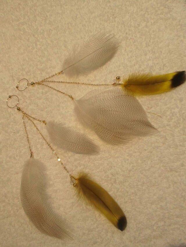 SOLDOUT フェザーイヤリング【木の葉の妖精】の画像1枚目