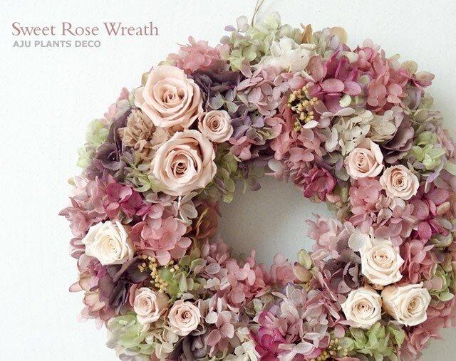 Sweet Rose Wreath (プリザ)  28cmの画像1枚目