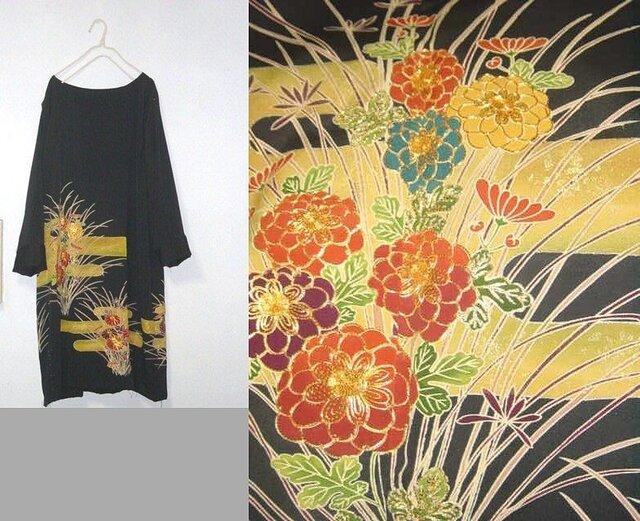 留袖リメイク♪菊の刺繍が素敵なチュニックワンピースの画像1枚目