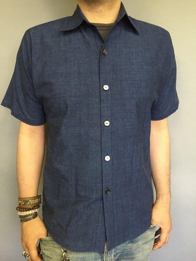 吉兆藍木綿半袖シャツ(薄藍)の画像1枚目