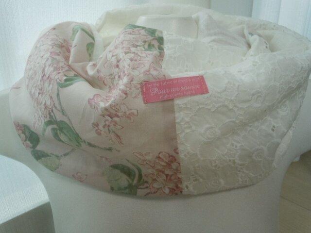 ハンドメイド◆スヌードリネンリバティライラックピンク花刺繍の画像1枚目
