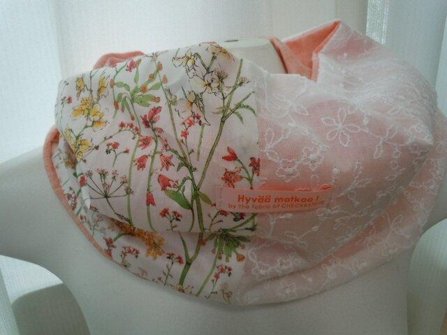 ハンドメイド◆スヌードリネンリバティ セオドラ花刺繍オレンジの画像1枚目