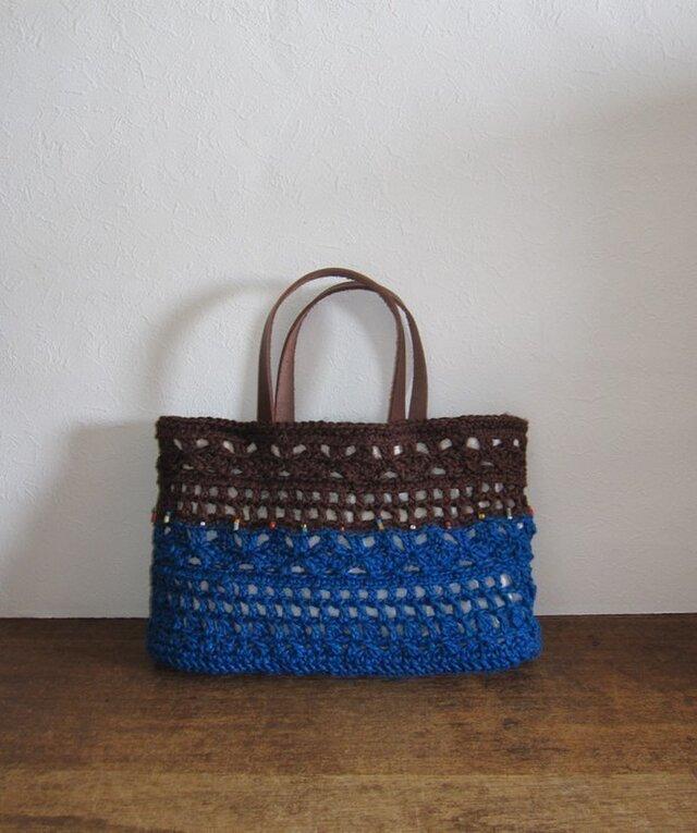 SALE! 透かし編み二色麻かばんの画像1枚目