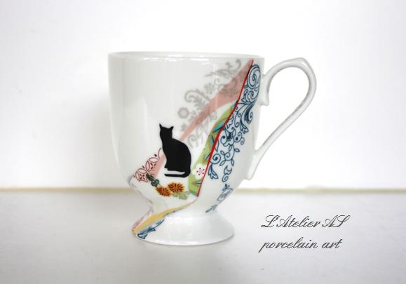 レトロ猫マグカップ菊の画像1枚目