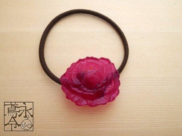 髪ゴム 明るい赤紫色の牡丹の画像1枚目