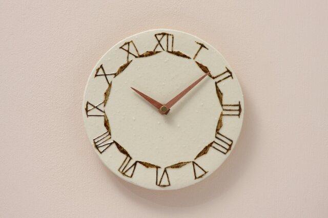 陶製掛け時計φ190(木製針)の画像1枚目