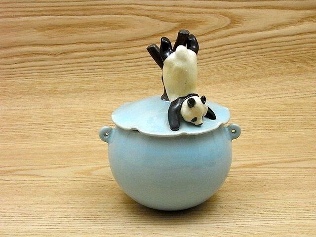 水青落樹大熊猫耳付飴小壺−Aの画像1枚目
