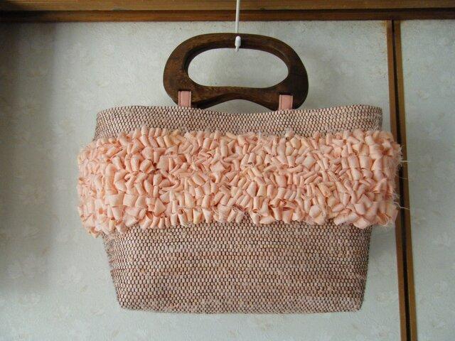 春桜色フリフリ裂織バッグの画像1枚目