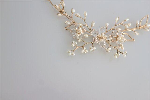 スワロとパールの桜とカスミソウのゴールドネックレス 14kgf Sakuraの画像1枚目
