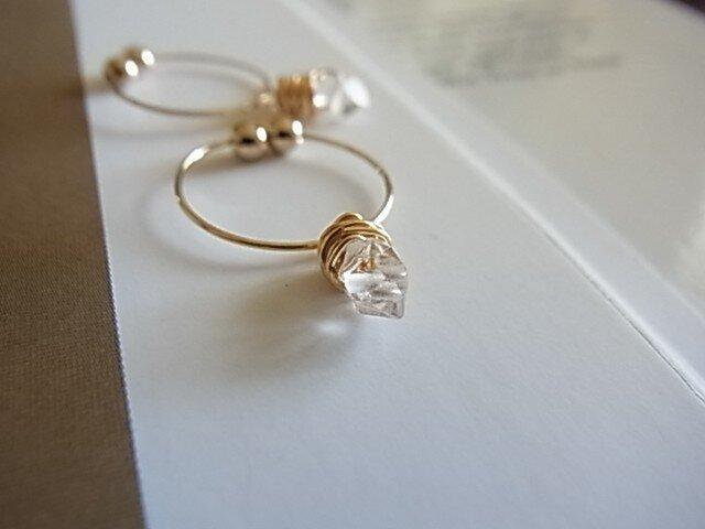 herkimer diamondイヤリング(ノンホールピアス)の画像1枚目
