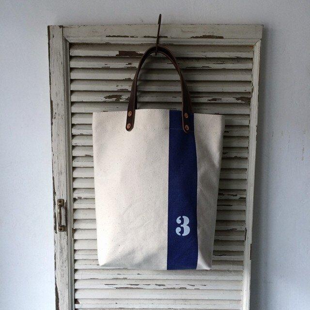 縦線に3の文字A4サイズ日本製古い生成り帆布トートバッグ0176の画像1枚目