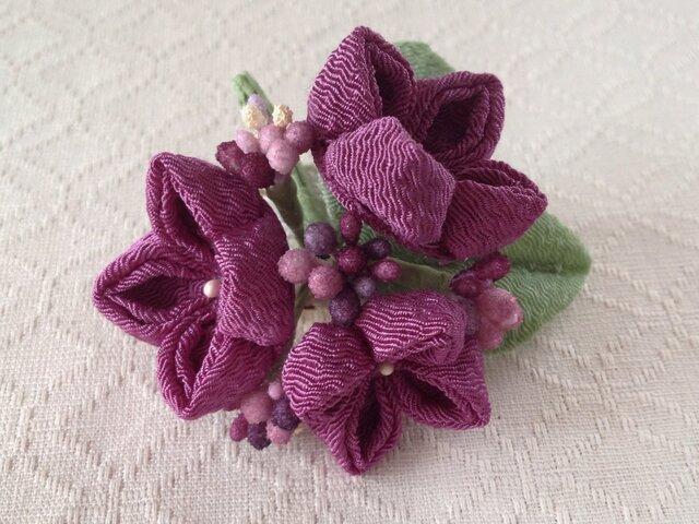 〈つまみ細工〉紫陽花の髪飾り(小・若紫)の画像1枚目