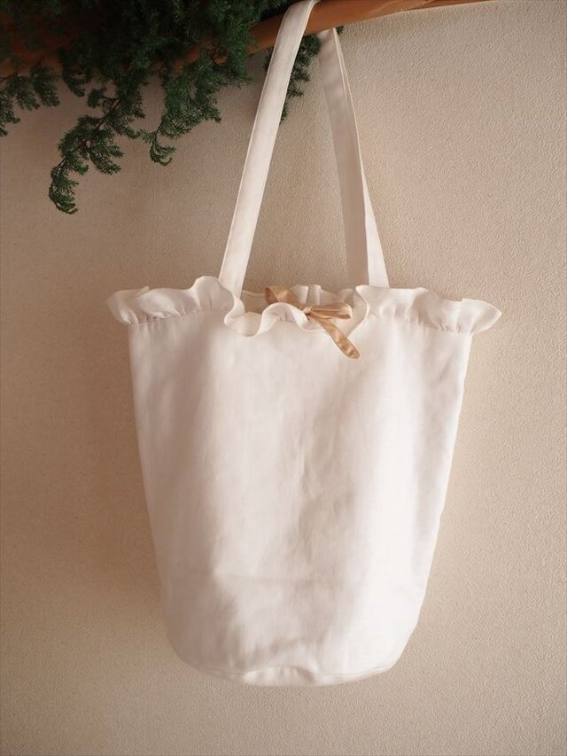 white lilac bucket basket(L)の画像1枚目