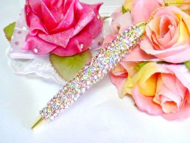 ◆雑誌掲載◆スワロフスキーデコ ボールペン  まるで宝石箱の画像1枚目
