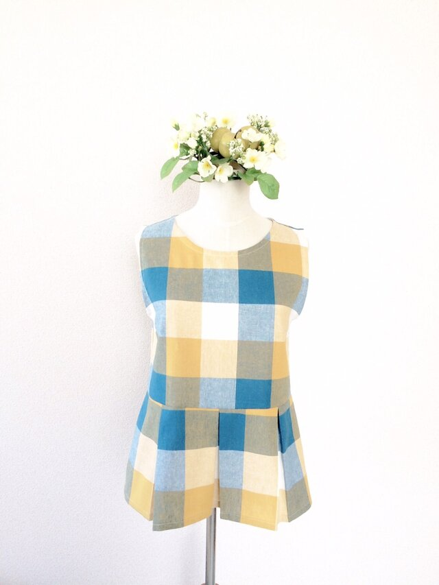 CHECK FLARE TOP (BLUE×YELLOW)の画像1枚目