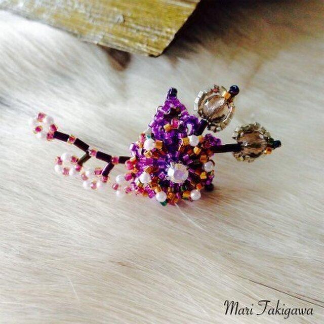 Pin brooch of cherry purpleの画像1枚目