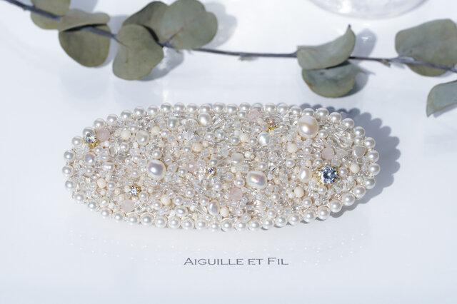 *天然石オーバルビーズバレッタ *(large-pearl)の画像1枚目