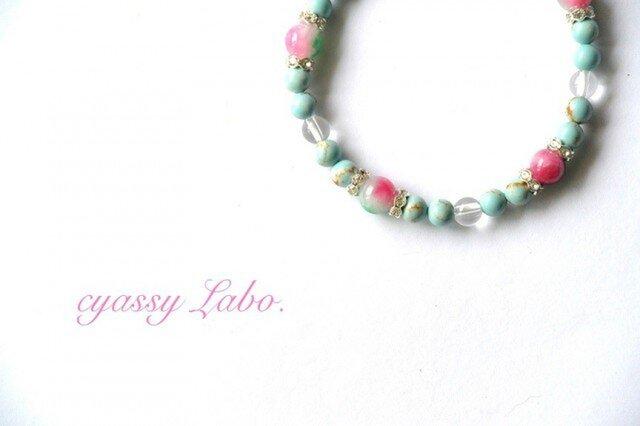 lago ~トルコ石と花翡翠のブレスレット~の画像1枚目
