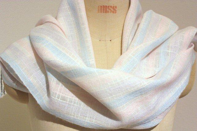 【再販】手織りストール 白地にパステルカラーの画像1枚目